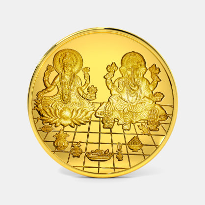 5 gram 24 KT Lakshmi Ganesh Gold Coin
