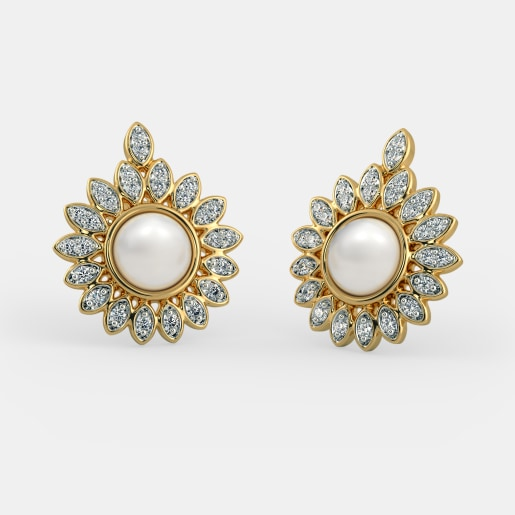 81ef28f36 Buy Pearl Studded Gold Studs Earring Designs Online in India 2019 ...